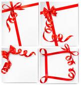 Conjunto de plano de fundo de férias com laço vermelho presente com fitas vermelhas. vector — Vetorial Stock