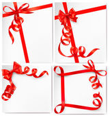 Kırmızı kurdele ile kırmızı hediye yay ile tatil arka plan ayarlayın. vektör — Stok Vektör