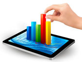 Tablet screen with graph and a hand. Vector. — Stock Vector