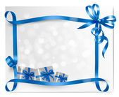 Holiday background with blue gift bow with gift boxes Vector — Stock Vector