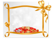 Holiday background with gift bow with gift boxes Vector — Vector de stock