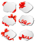Set of beautiful cards with red gift bows with ribbons Vector — Vetorial Stock
