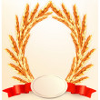 Ears of wheat with label. Vector. — Stock Vector