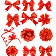 Big set of red gift bows with ribbons. Vector — Stock Vector #13263315