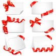 Set of beautiful cards with red gift bows with ribbons. Vector — ストックベクタ #13263330