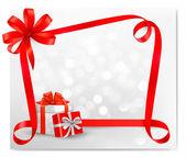 Fundo de férias com laço vermelho presente com vetor de caixas de presente — Vetorial Stock