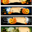 Four Halloween banners Vector - Stock Vector