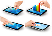 Set of tablet screen with graph and a hand. Vector. — Stock Vector