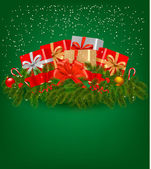 Christmas background with presents and a ribbon. Vector illustration. — Stock Vector