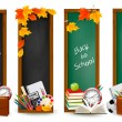 Back to school.Four banners with school supplies and autumn leaves. Vector. — Stock Vector #13440199