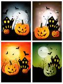 Four Halloween banners. Vector. — Stock Vector