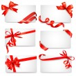 Set of card notes with red gift bows with ribbons Vector — Stockvektor