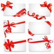 Set of card notes with red gift bows with ribbons Vector — Stock vektor