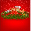 Christmas background with presents and a red ribbon. Vector illustration. — Stock Vector