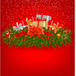 Christmas background with presents and a red ribbon. Vector illustration. - Stock Vector