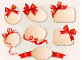 Collection of vintage labels with a red gift bows and ribbons. Vector illustration. — Stock Vector