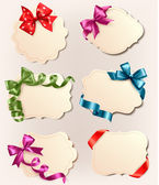 Collection of vintage labels with a colorful gift bows and ribbons Vector illustration — ストックベクタ