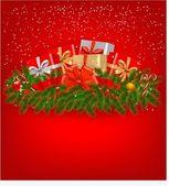 Sfondo di natale con regali e un nastro rosso. illustrazione vettoriale. — Vettoriale Stock
