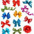 Big set of colorful gift bows with ribbons. Vector illustration. — Stock Vector