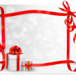 Holiday background with red gift bow with gift boxes. Vector illustration. — Stock Vector