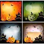 Four Halloween backgrounds. Vector — Stock Vector