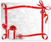 Fundo de férias com laço vermelho presente com caixas de presente. ilustração vetorial. — Vetorial Stock