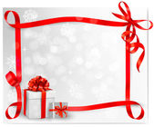 Holiday background with red gift bow with gift boxes. Vector illustration. — Vector de stock