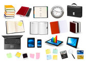 Business and office supplies. Vector. — Stock Vector