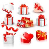 Ensemble de coffrets cadeaux vecteur coloré avec des arcs et des rubans. — Vecteur