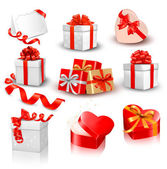 Set of colorful vector gift boxes with bows and ribbons. — 图库矢量图片