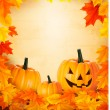 Stock Vector: Pumpkin background with leaves. Halloween background. Vector.