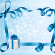 Holiday background with blue gift bow with gift boxes. Vector illustration. — Stock Vector #13923436