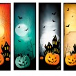 Four Halloween banners Vector — Stock Vector #13923510