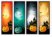 Four Halloween banners Vector — Stock Vector