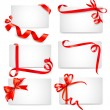 Set of beautiful cards with red gift bows with ribbons Vector — Stock Vector #14136398