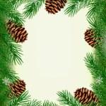 rám vyrobený z větve vánočního stromu s šišky. vektor — Stock vektor