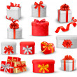 Set of colorful gift boxes with bows and ribbons. — Stock Vector #14431763
