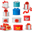 Set of colorful gift boxes with bows and ribbons. — Stock Vector