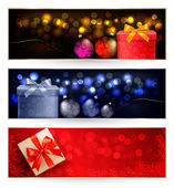 Set of winter christmas banners illustration — Vetor de Stock