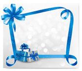 Fondo de vacaciones con moño azul regalo con la ilustración de las cajas de regalo — Vector de stock