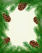Frame made of christmas tree branches with pine cones. Vector — Stock Vector