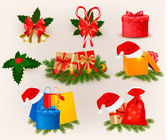 Set of christmas icons and elements. Vector — Stock Vector