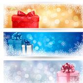 Conjunto de invierno navidad pancartas ilustración — Vector de stock
