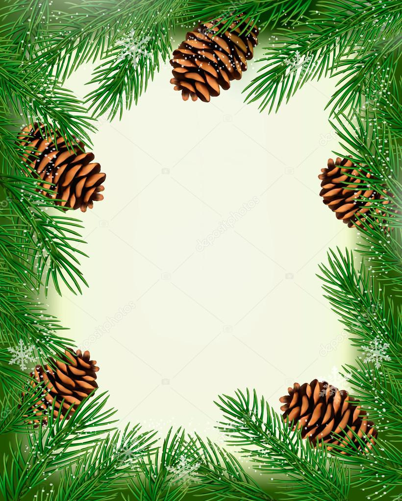 Frame made of christmas tree branches with pine cones. Vector — Imagen vectorial #14431661
