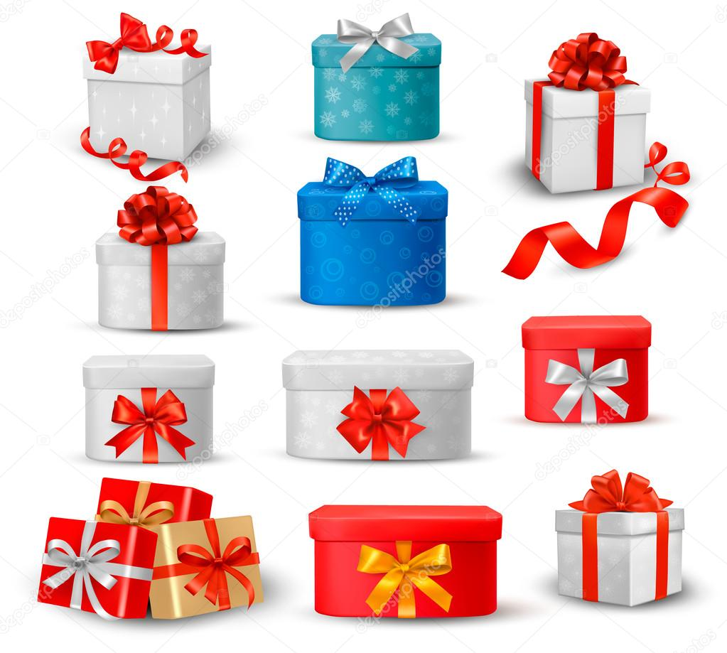 Set of colorful gift boxes with bows and ribbons. — Stock Vector #14431811