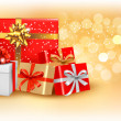 Christmas gold background with gift box and snowflake. Vector illustration. — Stock Vector #14872835