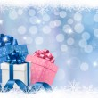 Christmas background with gift boxes and blue ribbons. Vector illustration. — Stock Vector #14872839