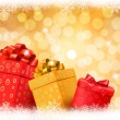 Royalty-Free Stock Vectorafbeeldingen: Christmas gold background with gift color boxes and snowflake. Vector illustration.