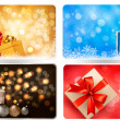 Collection of Christmas backgrounds with gift boxes and snowflakes. Vector illustration. — Stock Vector