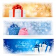 Set of winter christmas banners with gift boxes and snowflakes. Vector illustration — Stock Vector